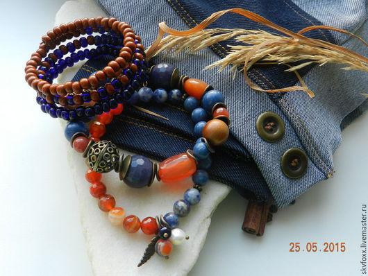 """Браслеты ручной работы. Ярмарка Мастеров - ручная работа. Купить """"Цветущий джинс"""" комплект браслетов. Handmade. Синий, натуральные материалы"""