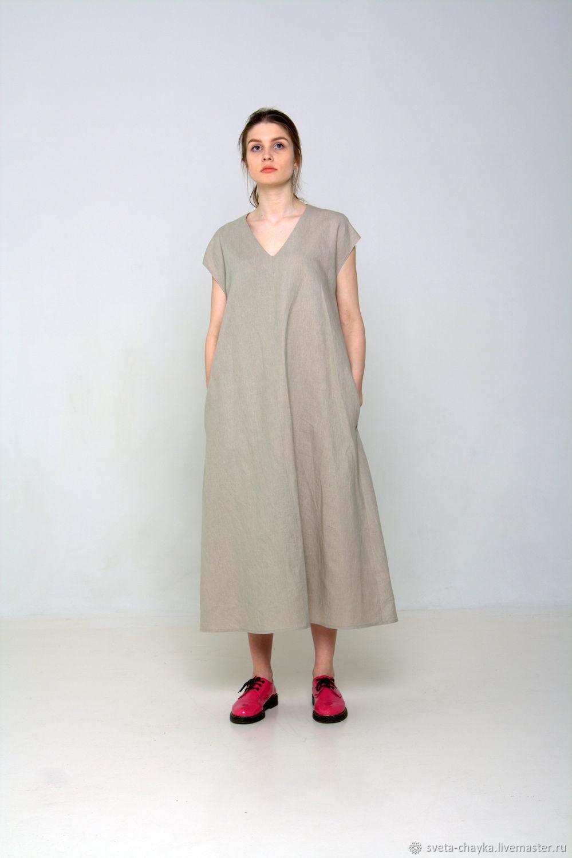 Платья ручной работы. Ярмарка Мастеров - ручная работа. Купить Платье  CHASTO льняное бежевое летнее ... 9feda0e5c14