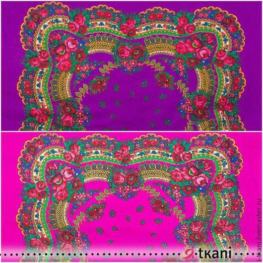 Платочная купонная ткань. Цвет `фиолетовый`, `розовый`. Производство: Япония. Состав: 100% акрил. Цена за 1 купон: 590 руб. Размер купона: 120х120 см. Размер рисунка: 90х90 см.