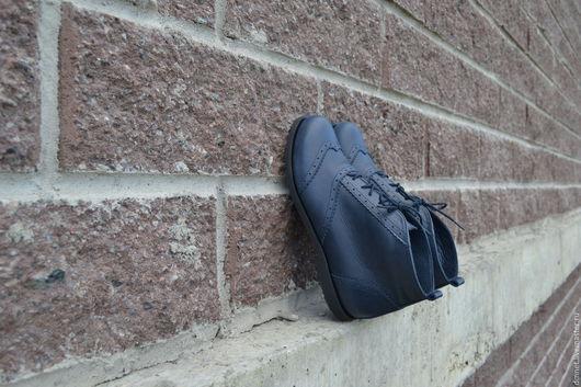 Обувь ручной работы. Ярмарка Мастеров - ручная работа. Купить Ботиночки синего цвета. Handmade. Синий, натуральная кожа
