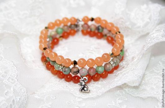 Браслет из варисцита и агатов, тройной браслет из натуральных камней, http://www.livemaster.ru/stylishimage Стильный образ