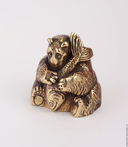 """Колокольчики ручной работы. Ярмарка Мастеров - ручная работа. Купить Колокольчик """"Мишка с рыбой"""". Handmade. Золотой, чернение, латунь, бронза"""