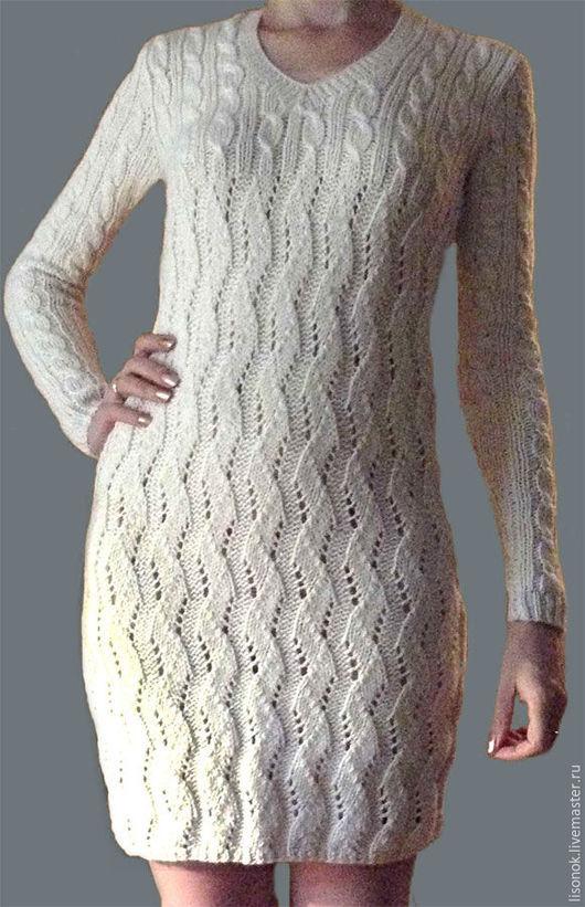 Dresses handmade. Livemaster - handmade. Buy knitted dress 'white'.Dress knitted, dress knitting, white dress knitting