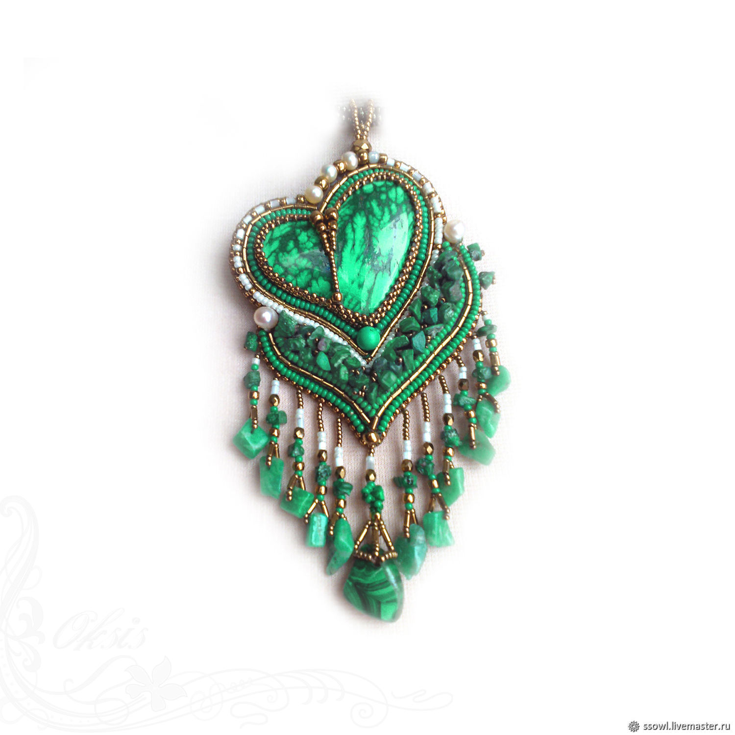 Pendant (necklace) Malachite heart with large natures. stone, pendants, Necklace, Bryansk,  Фото №1