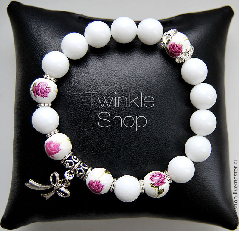 Floral bracelet white agate, Bead bracelet, Moscow,  Фото №1