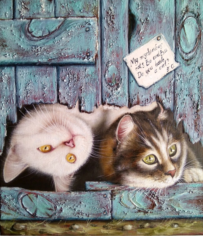 Картина маслом Два озорных кота Бо и Бу, Картины, Житомир,  Фото №1