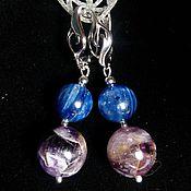 Украшения handmade. Livemaster - original item earrings with kyanite and amethyst