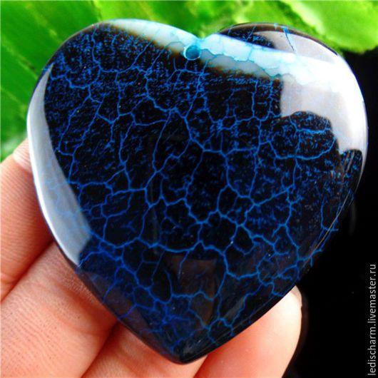 Для украшений ручной работы. Ярмарка Мастеров - ручная работа. Купить Кулон-сердце. Handmade. Тёмно-синий, агат тонированный