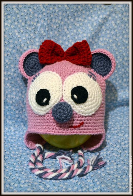 Шапки ручной работы. Ярмарка Мастеров - ручная работа. Купить Шапочка Мышка-очаровашка. Handmade. Бледно-розовый, мышка