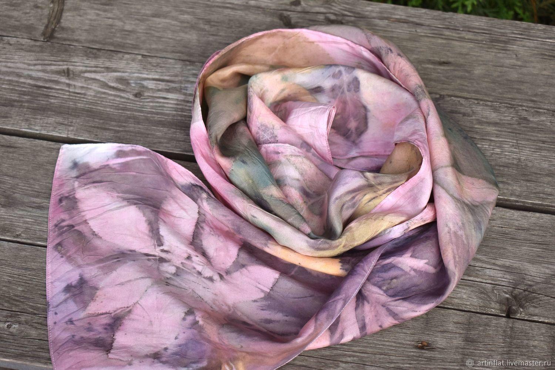 A narrow silk scarf 'the Shining' ekoprint, Scarves, Moscow,  Фото №1
