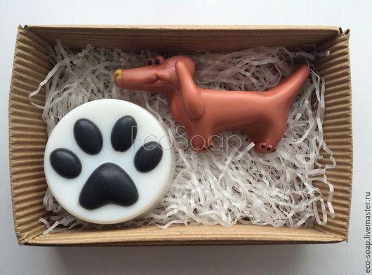 Набор мыла ручной работы `Собачкина любовь` в коробке. Handmade.