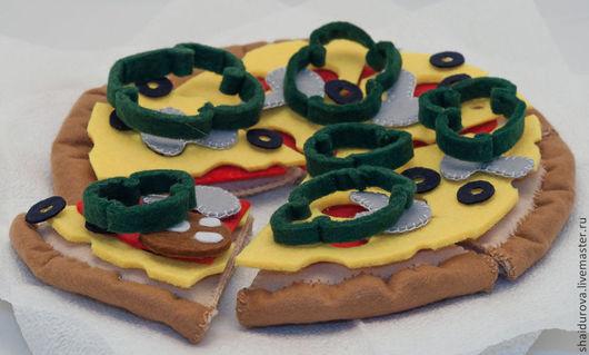 Еда ручной работы. Ярмарка Мастеров - ручная работа. Купить Пицца из фетра.. Handmade. Пицца, фетр, еда для кукол
