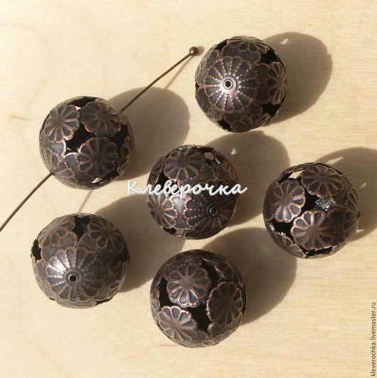Для украшений ручной работы. Ярмарка Мастеров - ручная работа. Купить .Бусины 16 мм цвет медь шар металл для украшений. Handmade.