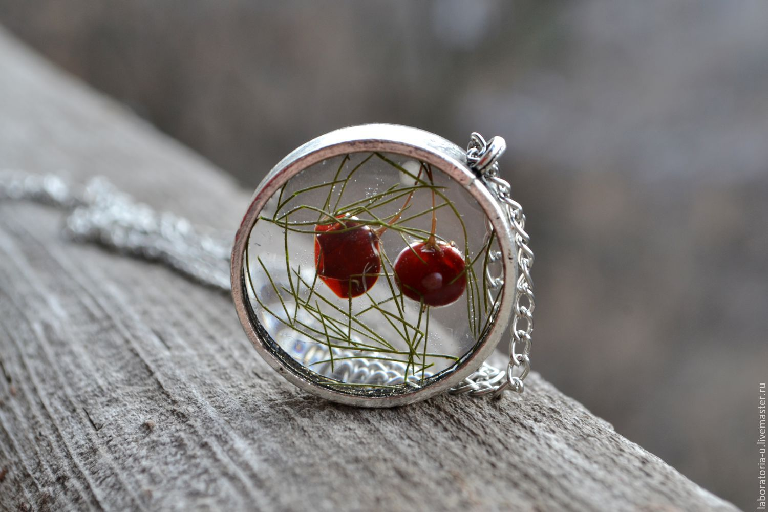 Transparent round large pendant with real red berries, Pendant, Samara,  Фото №1