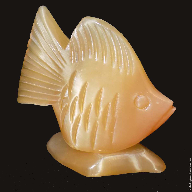 Золотая Рыбка - фигурка из камня Селенит, Статуэтки, Орда,  Фото №1