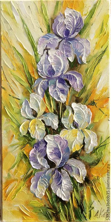 Картины цветов ручной работы. Ярмарка Мастеров - ручная работа. Купить Ирисы. Handmade. Разноцветный, картина, картина в подарок