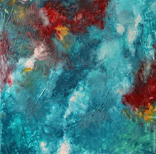 Абстракция ручной работы. Ярмарка Мастеров - ручная работа. Купить Абстрактная живопись. AQUAMARINES - 2.. Handmade. Бирюзовый, волны, вода