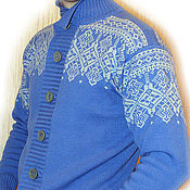 Одежда handmade. Livemaster - original item Men`s knitted cardigan with Norwegian pattern, wool. Handmade.