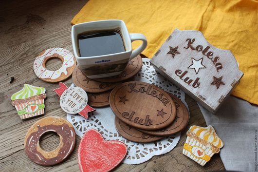 Кухня ручной работы. Ярмарка Мастеров - ручная работа. Купить Именной набор подставок под  чай или кофе.. Handmade.