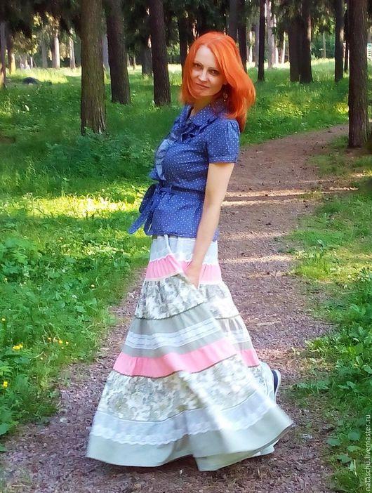 Юбки ручной работы. Ярмарка Мастеров - ручная работа. Купить Летняя юбка в пол из хлопка. Handmade. Комбинированный, хиппи стиль