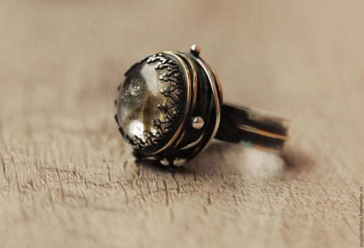 Кольца ручной работы. Ярмарка Мастеров - ручная работа. Купить Кольцо с рутиловым кварцем. Handmade. Комбинированный, крупное кольцо