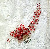 Свадебный салон ручной работы. Ярмарка Мастеров - ручная работа Гребень цвета марсала в прическу. Handmade.