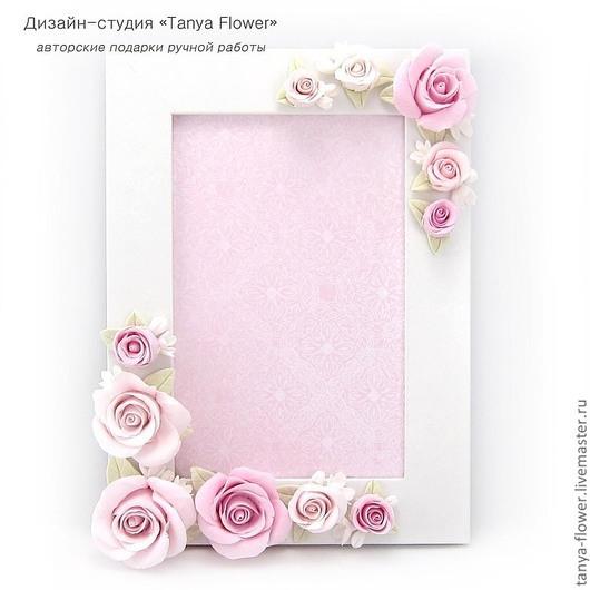 """Фоторамки ручной работы. Ярмарка Мастеров - ручная работа. Купить Фоторамка """"Розовые розы"""". Handmade. Бледно-розовый, фоторамка с розами"""