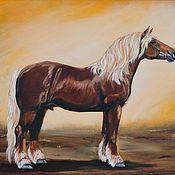 Картины и панно ручной работы. Ярмарка Мастеров - ручная работа благородная мощь (лошадь, тяжеловоз, картина маслом). Handmade.
