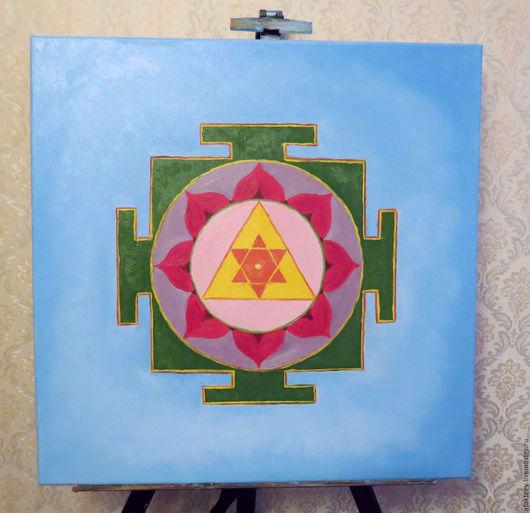 Абстракция ручной работы. Ярмарка Мастеров - ручная работа. Купить Ганеша янтра. Handmade. Голубой, боги, абстрактная картина, индуизм