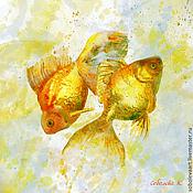 """Картины и панно ручной работы. Ярмарка Мастеров - ручная работа Картина """"Золотые рыбки II""""  авторская печать картина с рыбками. Handmade."""