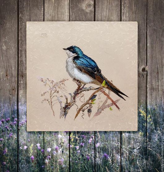 Животные ручной работы. Ярмарка Мастеров - ручная работа. Купить картина Синяя птаха весной (шебби шик, прованс, бежевый, голубой). Handmade.